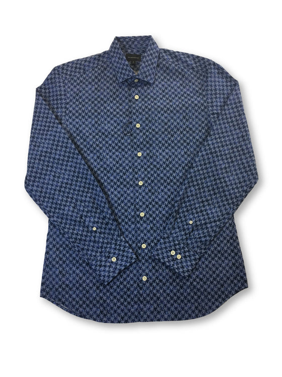 Baldessarini Kurt cotton shirt in blue and navy repeat pattern- khakisurfer.com Latest menswear designer brands added include Eton, Etro, Agave Denim, Pal Zileri, Circle of Gentlemen, Ralph Lauren, Scotch and Soda, Hugo Boss, Armani Jeans, Armani Collezioni.