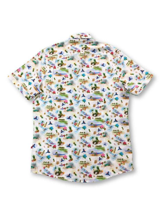 Pure slim fit short sleeved shirt in multi colour holiday print- khakisurfer.com Latest menswear designer brands added include Eton, Etro, Agave Denim, Pal Zileri, Circle of Gentlemen, Ralph Lauren, Scotch and Soda, Hugo Boss, Armani Jeans, Armani Collezioni.