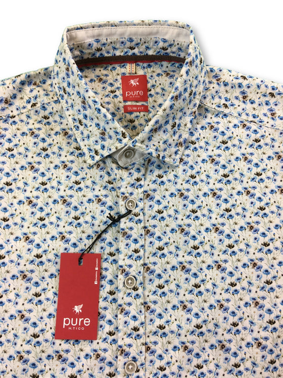 Pure slim fit short sleeved shirt in off-white/blue flower print- khakisurfer.com Latest menswear designer brands added include Eton, Etro, Agave Denim, Pal Zileri, Circle of Gentlemen, Ralph Lauren, Scotch and Soda, Hugo Boss, Armani Jeans, Armani Collezioni.