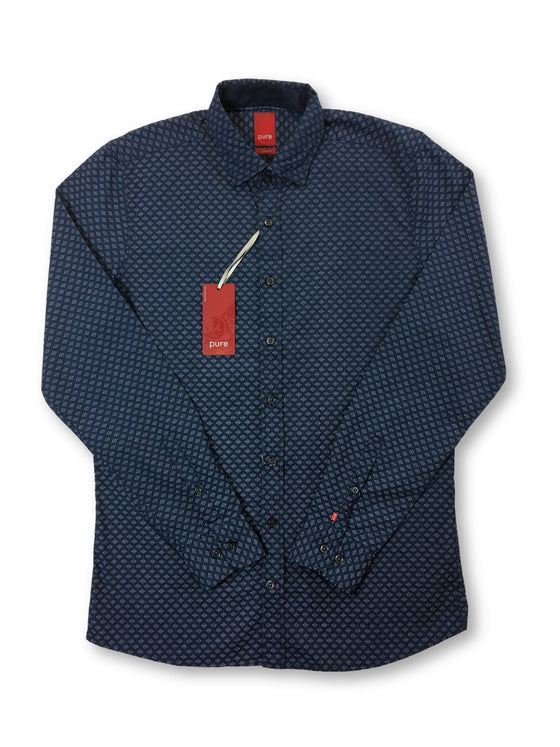 Pure slim fit shirt in blue/white repeating pattern-khakisurfer.com