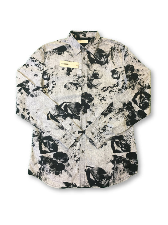 Diesel Ortez shirt in black and grey floral