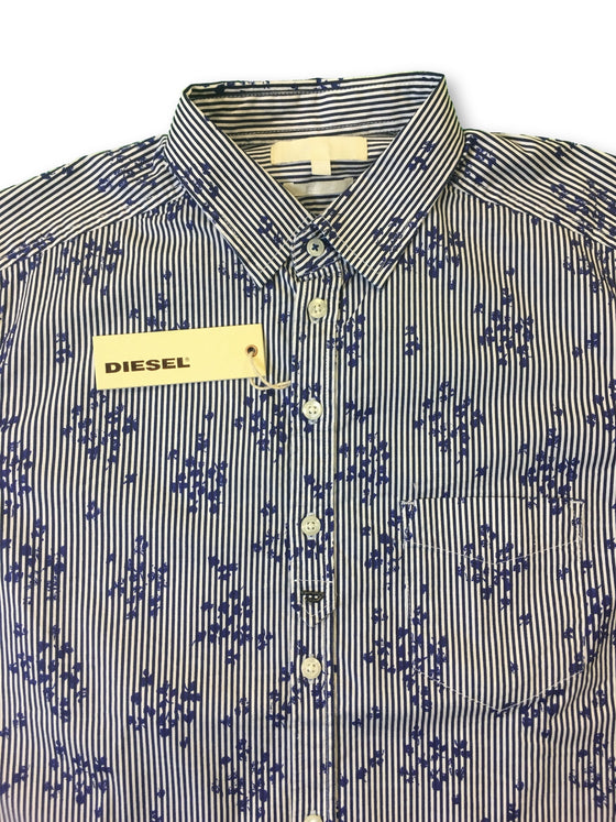 Diesel Zoen slim fit shirt in blue and white floral and stripe