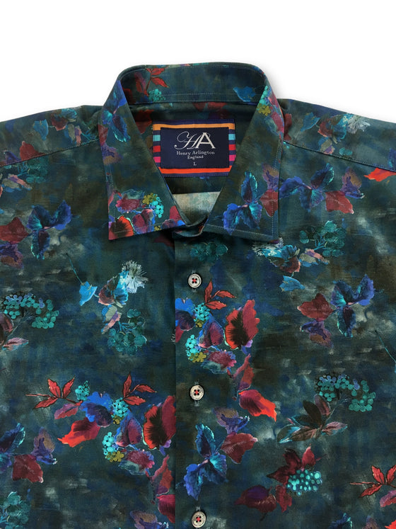 Henry Arlington Windsor Paradise cotton casual shirt in green floral- khakisurfer.com Latest menswear designer brands added include Eton, Etro, Agave Denim, Pal Zileri, Circle of Gentlemen, Ralph Lauren, Scotch and Soda, Hugo Boss, Armani Jeans, Armani Collezioni.