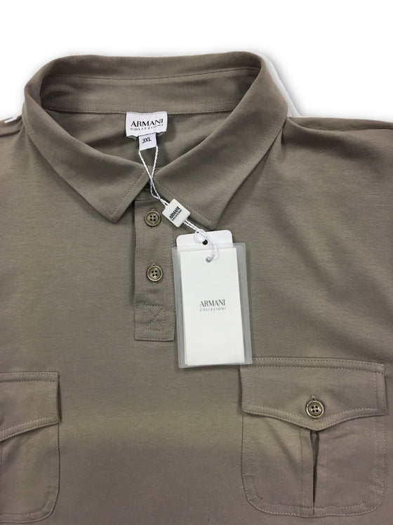 Armani Collezioni beige cotton 3 button polo- khakisurfer.com Latest menswear designer brands added include Eton, Etro, Agave Denim, Pal Zileri, Circle of Gentlemen, Ralph Lauren, Scotch and Soda, Hugo Boss, Armani Jeans, Armani Collezioni.