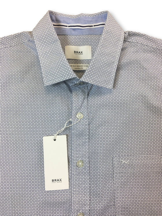 Brax comfort fit 'The silk washed shirt' shirt in white/blue- khakisurfer.com Latest menswear designer brands added include Eton, Etro, Agave Denim, Pal Zileri, Circle of Gentlemen, Ralph Lauren, Scotch and Soda, Hugo Boss, Armani Jeans, Armani Collezioni.
