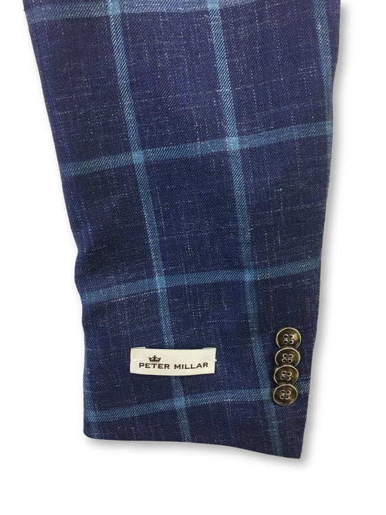 Peter Millar Crown Soft jacket in blue windowpane check