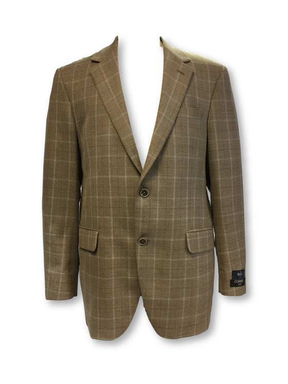 Coppley Gibson wool jacket in tan with chalk windowpane check