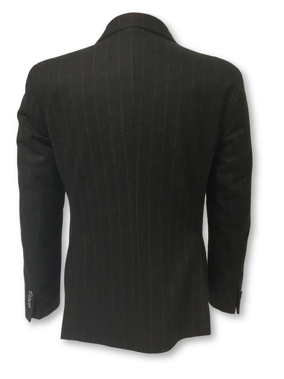 Hamaki-Ho fully structured jacket in black subtle chalk stripe