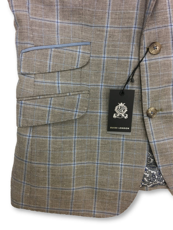 Guide London fully structured jacket in brown/blue check