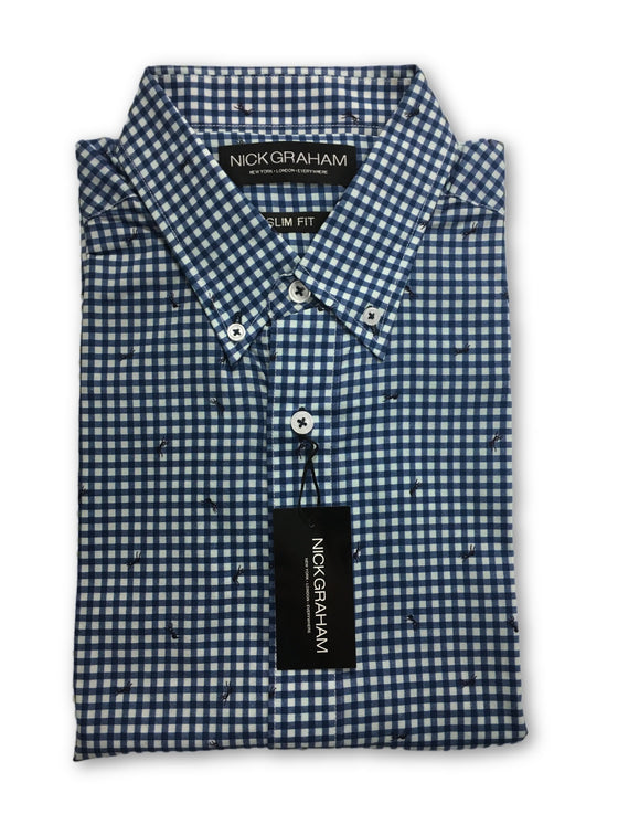 Nick Graham slim fit shirt in blue check- khakisurfer.com Latest menswear designer brands added include Eton, Etro, Agave Denim, Pal Zileri, Circle of Gentlemen, Ralph Lauren, Scotch and Soda, Hugo Boss, Armani Jeans, Armani Collezioni.