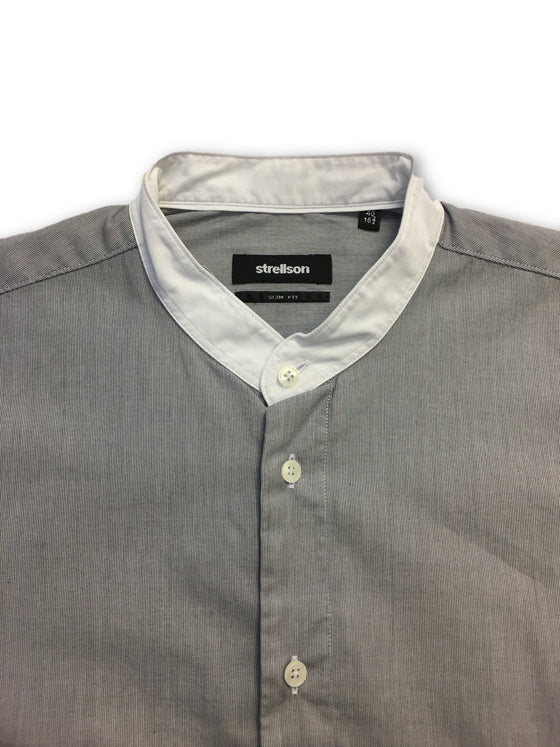 Strellson slim fit shirt in grey with contrast collar- khakisurfer.com Latest menswear designer brands added include Eton, Etro, Agave Denim, Pal Zileri, Circle of Gentlemen, Ralph Lauren, Scotch and Soda, Hugo Boss, Armani Jeans, Armani Collezioni.
