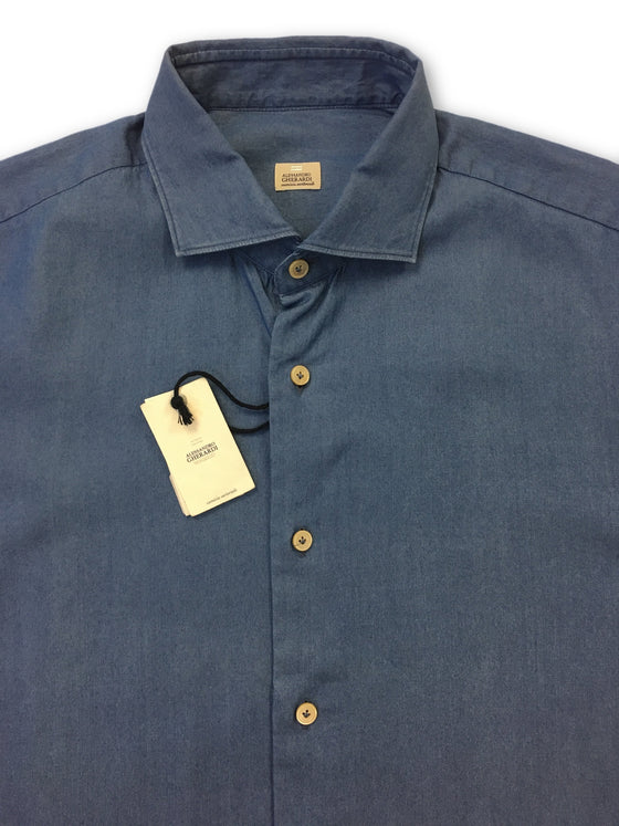 Alessandro Gherardi poplin shirt in blue- khakisurfer.com Latest menswear designer brands added include Eton, Etro, Agave Denim, Pal Zileri, Circle of Gentlemen, Ralph Lauren, Scotch and Soda, Hugo Boss, Armani Jeans, Armani Collezioni.