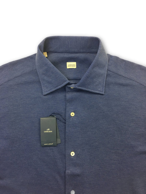 Alessandro Gheradi pique shirt in blue- khakisurfer.com Latest menswear designer brands added include Eton, Etro, Agave Denim, Pal Zileri, Circle of Gentlemen, Ralph Lauren, Scotch and Soda, Hugo Boss, Armani Jeans, Armani Collezioni.
