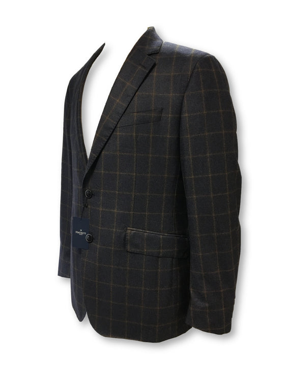 Hackett semi-structured jacket in blue/brown windowpane check