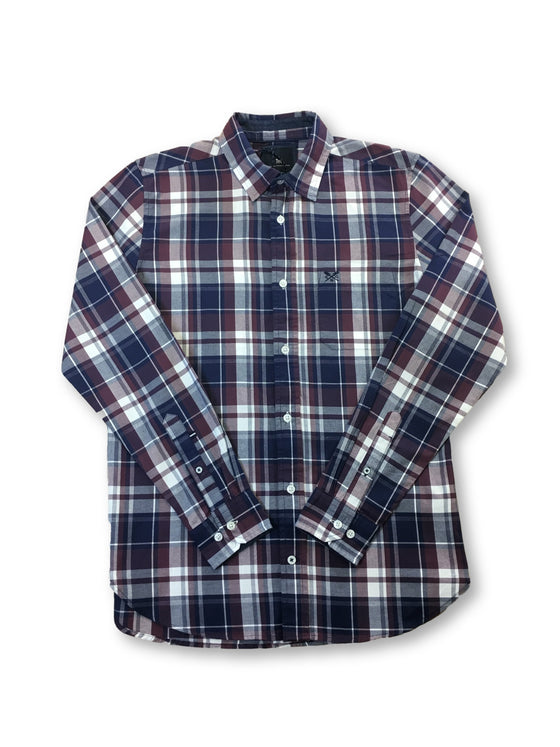 Crew Clothing slim fit cotton flannel shirt in burgundy/blue check- khakisurfer.com Latest menswear designer brands added include Eton, Etro, Agave Denim, Pal Zileri, Circle of Gentlemen, Ralph Lauren, Scotch and Soda, Hugo Boss, Armani Jeans, Armani Collezioni.