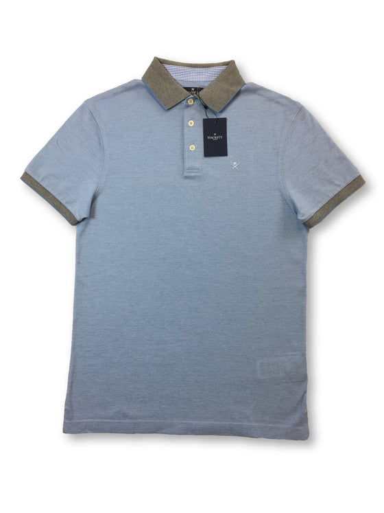 Hackett oxford pique slim fit polo in light blue