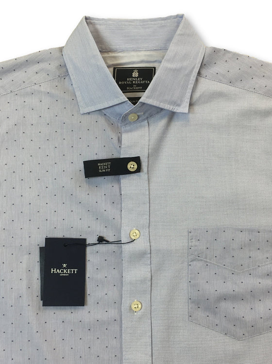 Hackett Kent slim fit shirt in blue contrasting patterns