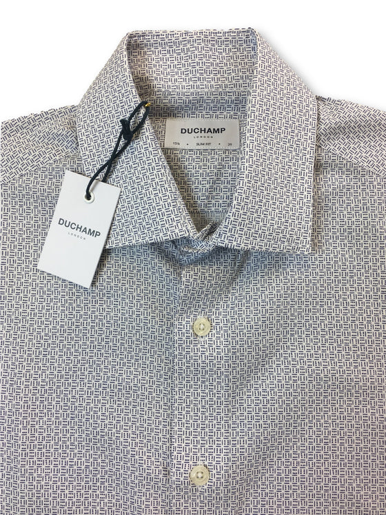 Duchamp slim fit shirt in white/blue mini dice print-khakisurfer.com