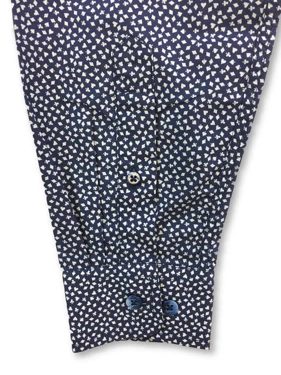 Duchamp slim fit shirt in navy mini card print- khakisurfer.com Latest menswear designer brands added include Eton, Etro, Agave Denim, Pal Zileri, Circle of Gentlemen, Ralph Lauren, Scotch and Soda, Hugo Boss, Armani Jeans, Armani Collezioni.