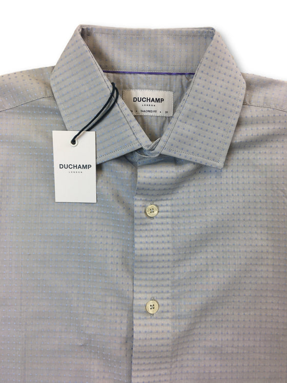 Duchamp tailored fit shirt in grey with blue woven spots- khakisurfer.com Latest menswear designer brands added include Eton, Etro, Agave Denim, Pal Zileri, Circle of Gentlemen, Ralph Lauren, Scotch and Soda, Hugo Boss, Armani Jeans, Armani Collezioni.