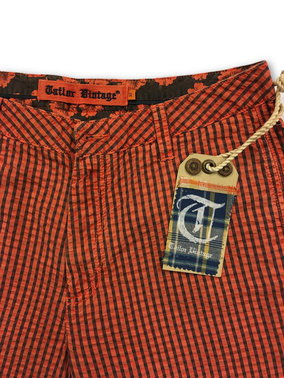 Tailor Vintage striped shorts in orange and navy- khakisurfer.com Latest menswear designer brands added include Eton, Etro, Agave Denim, Pal Zileri, Circle of Gentlemen, Ralph Lauren, Scotch and Soda, Hugo Boss, Armani Jeans, Armani Collezioni.