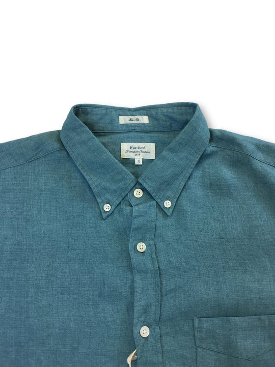 Hartford slim fit casual linen shirt in sea green-khakisurfer.com