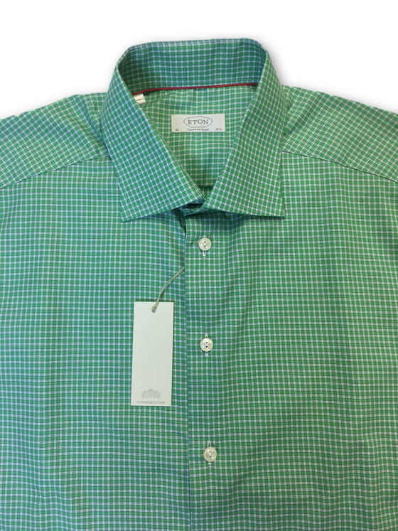 Eton Contemporary shirt in green gingham check- khakisurfer.com Latest menswear designer brands added include Eton, Etro, Agave Denim, Pal Zileri, Circle of Gentlemen, Ralph Lauren, Scotch and Soda, Hugo Boss, Armani Jeans, Armani Collezioni.