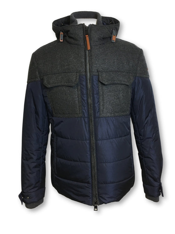 Baldessarini Wito hooded padded outerwear in navy/grey polyamide/wool- khakisurfer.com Latest menswear designer brands added include Eton, Etro, Agave Denim, Pal Zileri, Circle of Gentlemen, Ralph Lauren, Scotch and Soda, Hugo Boss, Armani Jeans, Armani Collezioni.