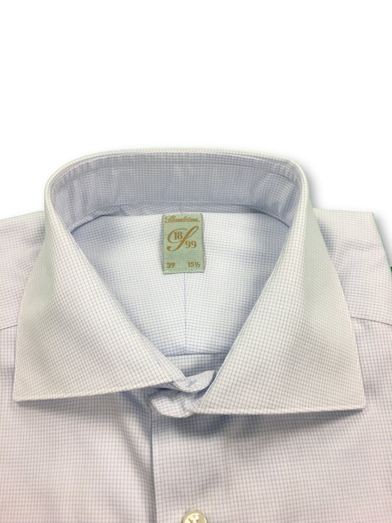 Stenstroms shirt in sky blue graph check- khakisurfer.com Latest menswear designer brands added include Eton, Etro, Agave Denim, Pal Zileri, Circle of Gentlemen, Ralph Lauren, Scotch and Soda, Hugo Boss, Armani Jeans, Armani Collezioni.