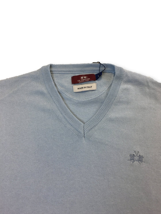 La Martina regular fit knitwear in baby blue cotton/wool mix- khakisurfer.com Latest menswear designer brands added include Eton, Etro, Agave Denim, Pal Zileri, Circle of Gentlemen, Ralph Lauren, Scotch and Soda, Hugo Boss, Armani Jeans, Armani Collezioni.