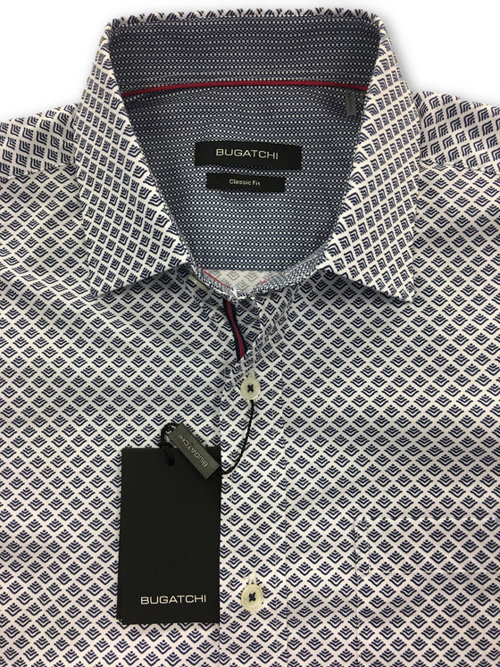 Bugatchi classic fit shirt in white with navy print- khakisurfer.com Latest menswear designer brands added include Eton, Etro, Agave Denim, Pal Zileri, Circle of Gentlemen, Ralph Lauren, Scotch and Soda, Hugo Boss, Armani Jeans, Armani Collezioni.