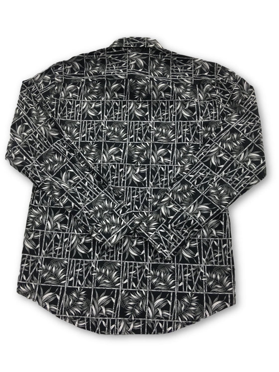 Bugatchi shaped fit shirt in black with bamboo and fern print- khakisurfer.com Latest menswear designer brands added include Eton, Etro, Agave Denim, Pal Zileri, Circle of Gentlemen, Ralph Lauren, Scotch and Soda, Hugo Boss, Armani Jeans, Armani Collezioni.