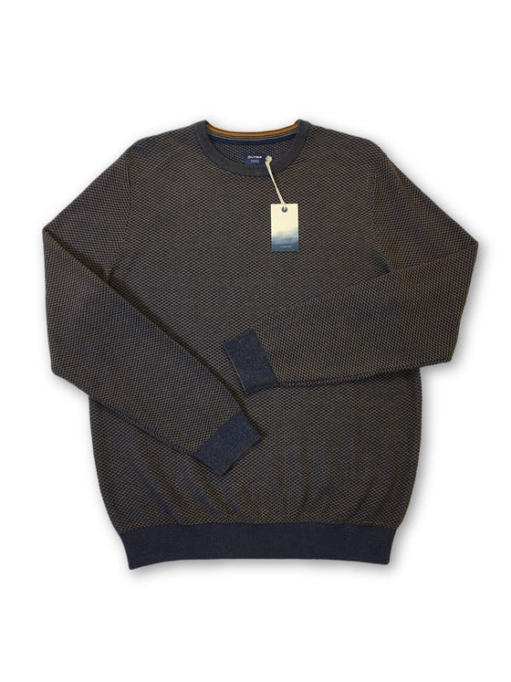 Olymp casual knitwear in orange and blue waffle pattern- khakisurfer.com Latest menswear designer brands added include Eton, Etro, Agave Denim, Pal Zileri, Circle of Gentlemen, Ralph Lauren, Scotch and Soda, Hugo Boss, Armani Jeans, Armani Collezioni.