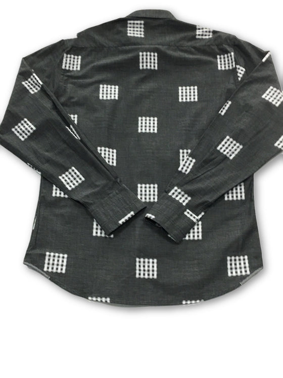Georg Roth shirt in grey with embroidered squares- khakisurfer.com Latest menswear designer brands added include Eton, Etro, Agave Denim, Pal Zileri, Circle of Gentlemen, Ralph Lauren, Scotch and Soda, Hugo Boss, Armani Jeans, Armani Collezioni.