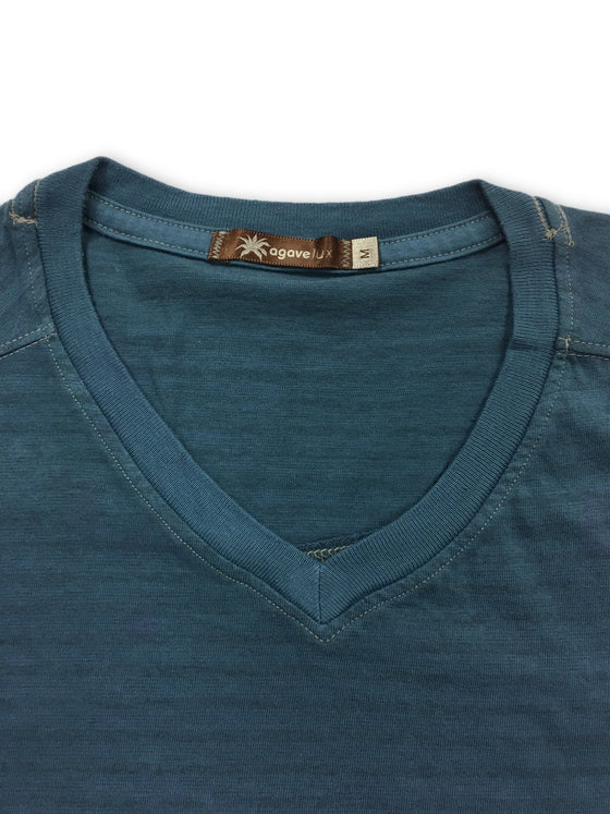 Agave t-shirt in blue organic cotton with feint stripes- khakisurfer.com Latest menswear designer brands added include Eton, Etro, Agave Denim, Pal Zileri, Circle of Gentlemen, Ralph Lauren, Scotch and Soda, Hugo Boss, Armani Jeans, Armani Collezioni.