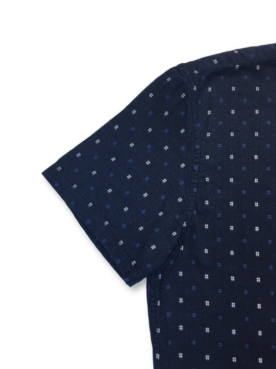 Edwin slim fit short sleeve shirt in navy repeat design- khakisurfer.com Latest menswear designer brands added include Eton, Etro, Agave Denim, Pal Zileri, Circle of Gentlemen, Ralph Lauren, Scotch and Soda, Hugo Boss, Armani Jeans, Armani Collezioni.