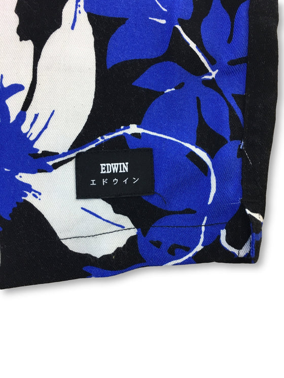 Edwin Garage short sleeve shirt in blue/black/white floral- khakisurfer.com Latest menswear designer brands added include Eton, Etro, Agave Denim, Pal Zileri, Circle of Gentlemen, Ralph Lauren, Scotch and Soda, Hugo Boss, Armani Jeans, Armani Collezioni.