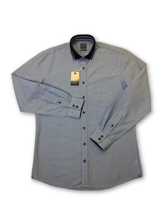 Olymp Casual Modern Fit shirt in blue micro horizontal line- khakisurfer.com Latest menswear designer brands added include Eton, Etro, Agave Denim, Pal Zileri, Circle of Gentlemen, Ralph Lauren, Scotch and Soda, Hugo Boss, Armani Jeans, Armani Collezioni.