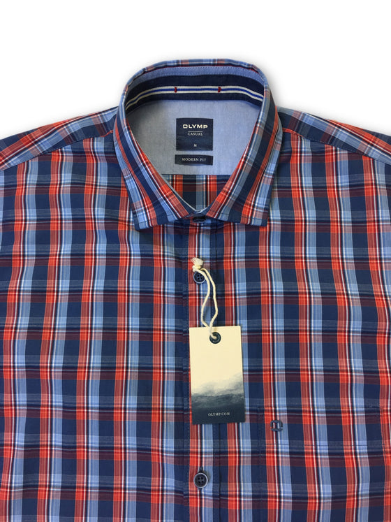 Olymp Casual modern fit short sleeve shirt in navy/red tartan- khakisurfer.com Latest menswear designer brands added include Eton, Etro, Agave Denim, Pal Zileri, Circle of Gentlemen, Ralph Lauren, Scotch and Soda, Hugo Boss, Armani Jeans, Armani Collezioni.