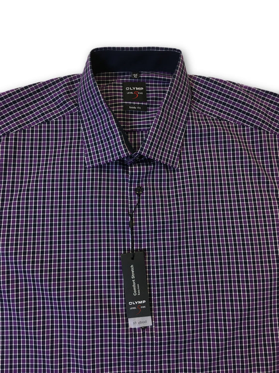 Olymp Level 5 body fit in purple plaid check pattern- khakisurfer.com Latest menswear designer brands added include Eton, Etro, Agave Denim, Pal Zileri, Circle of Gentlemen, Ralph Lauren, Scotch and Soda, Hugo Boss, Armani Jeans, Armani Collezioni.
