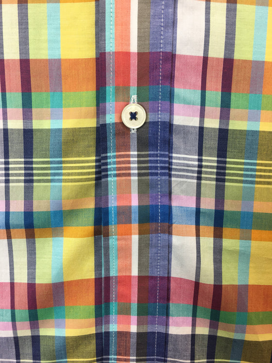 Bugatchi classic fit shirt in bright multi colour check