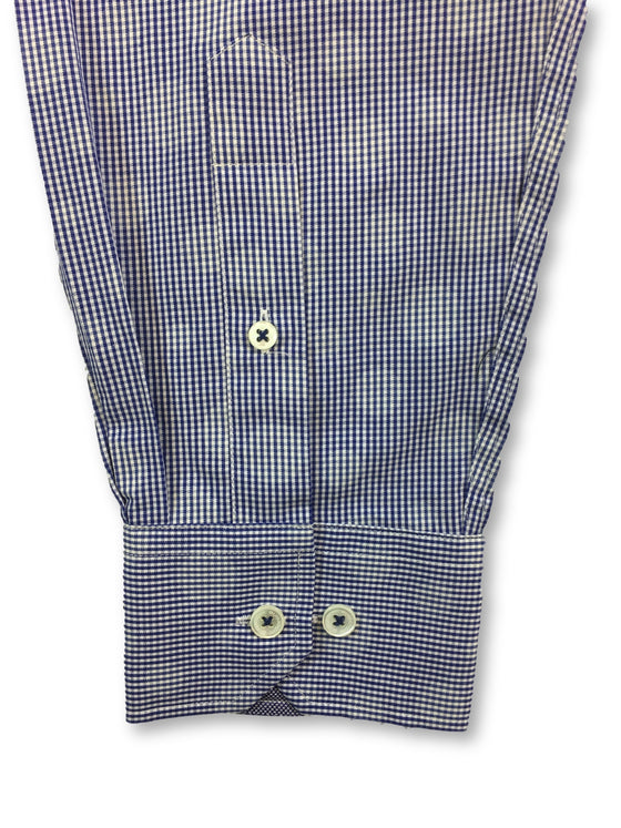 Bugatchi shaped fit shirt in blue check with circles