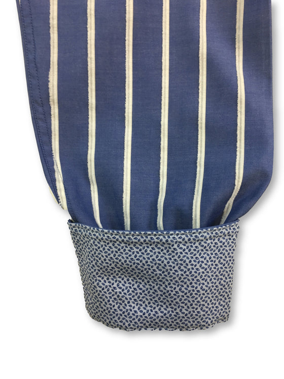 Bugatchi shaped fit shirt in blue with white flocked stripes