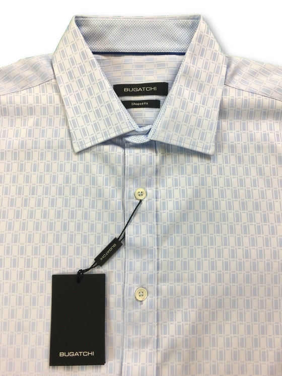 Bugatchi shaped fit shirt in blue with jacquard design