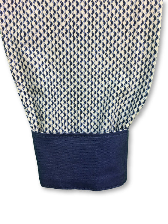 Bugatchi shaped fit shirt in navy and white diamond print