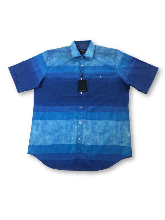 Bugatchi classic fit short sleeved shirt with blue stripes
