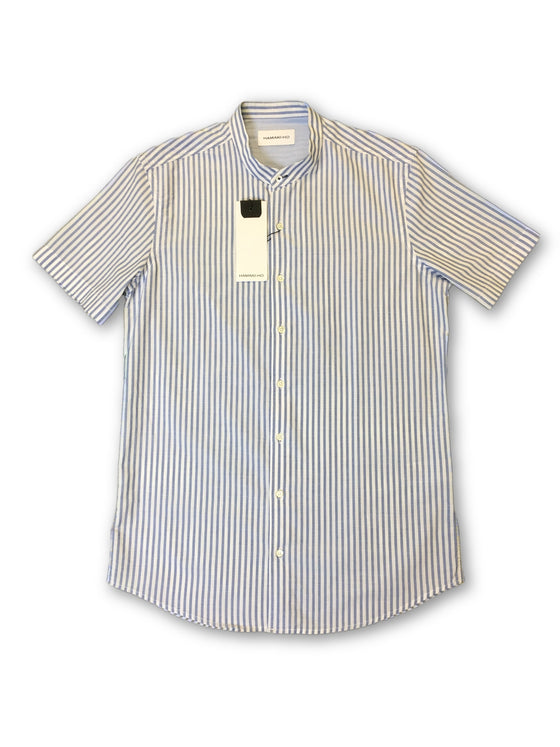 Hamaki-Ho shirt in blue and white stripe pattern- khakisurfer.com Latest menswear designer brands added include Eton, Etro, Agave Denim, Pal Zileri, Circle of Gentlemen, Ralph Lauren, Scotch and Soda, Hugo Boss, Armani Jeans, Armani Collezioni.