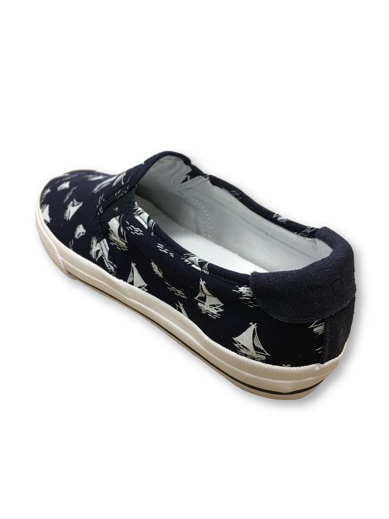 Ralph Lauren Polo Vaughn vintage sailboat printed sneakers navy