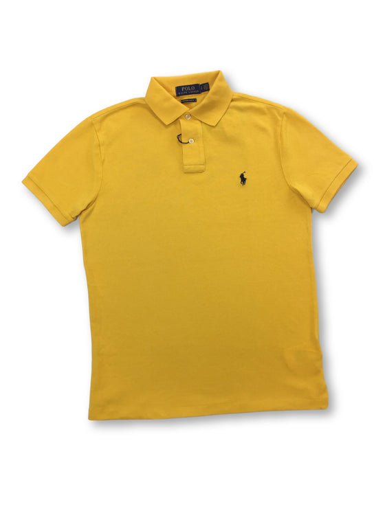 Ralph Lauren Polo custom slim fit cotton polo in gold with logo- khakisurfer.com Latest menswear designer brands added include Eton, Etro, Agave Denim, Pal Zileri, Circle of Gentlemen, Ralph Lauren, Scotch and Soda, Hugo Boss, Armani Jeans, Armani Collezioni.