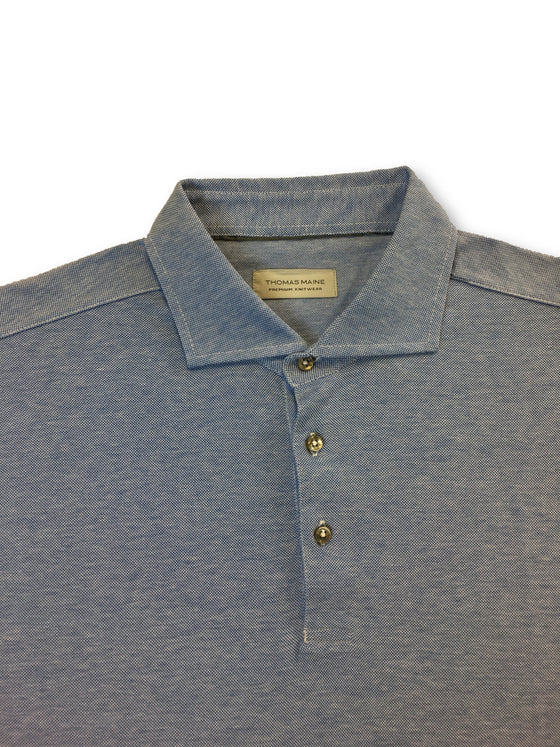 Thomas Maine knitted cotton polo in blue/white marl- khakisurfer.com Latest menswear designer brands added include Eton, Etro, Agave Denim, Pal Zileri, Circle of Gentlemen, Ralph Lauren, Scotch and Soda, Hugo Boss, Armani Jeans, Armani Collezioni.